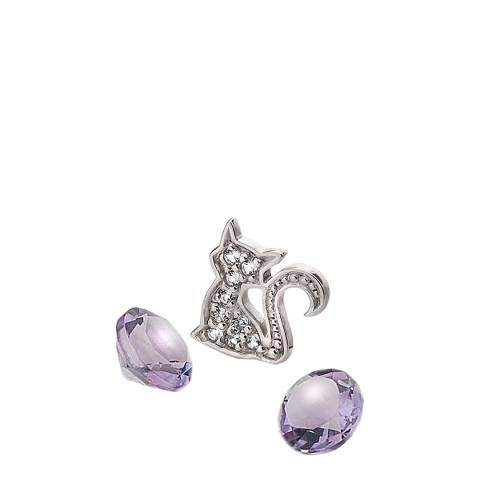 Anais Paris by Hot Diamonds Silver Cat Charm with Amethyst Cabochons