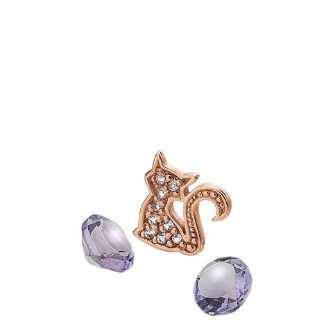 Anais Paris by Hot Diamonds Rose Gold Cat Charm with Amethyst Cabochons