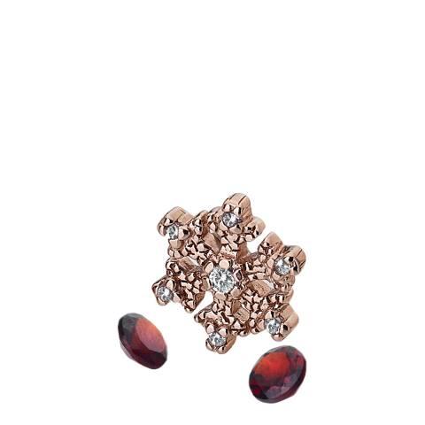 Anais Paris by Hot Diamonds Rose Gold Snowflake Charm and Garnet stones