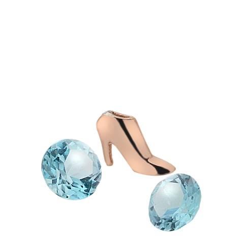 Anais Paris by Hot Diamonds Rose Gold Plate Blue Topaz Stones High Heel Charm