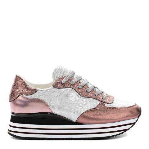 Crime London Rose Gold Leather Chunky Runner Sneakers