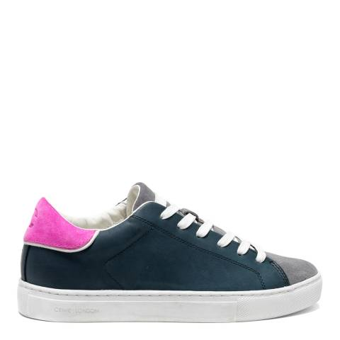 Crime London Navy Contrast Low Top Leather Sneakers