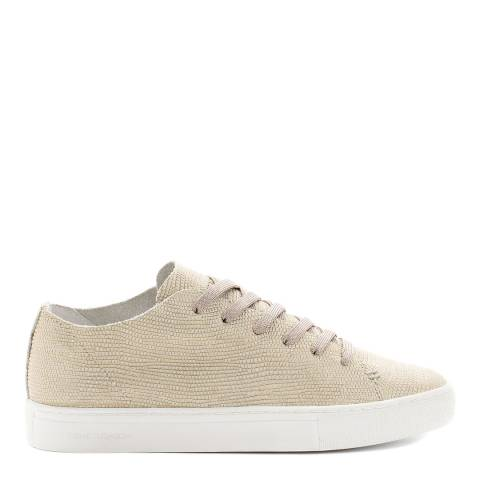 Crime London Beige Low Top Raw Leather Print Sneakers