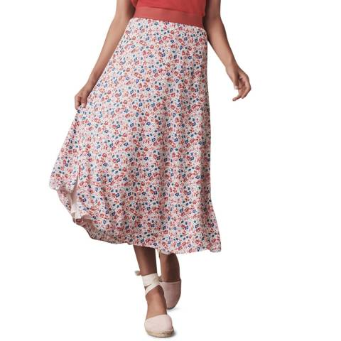 Crew Clothing Pink Floral Midi Skirt