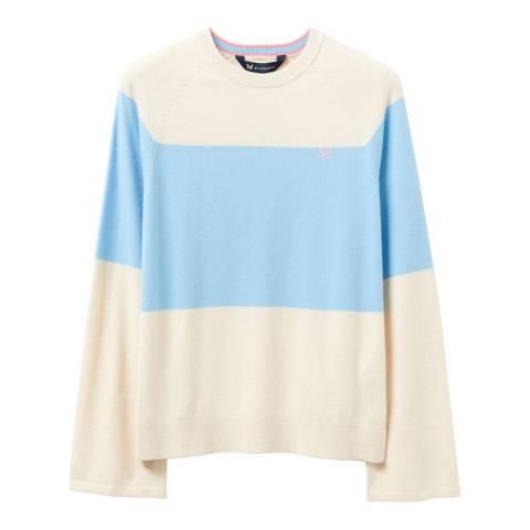 Crew Clothing Ivory/Blue Stripe Cotton Jumper