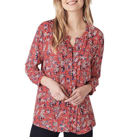 Crew Clothing Red Floral Blouse