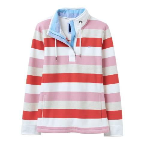 Crew Clothing Pink Striped Half Zip Cotton Sweatshirt