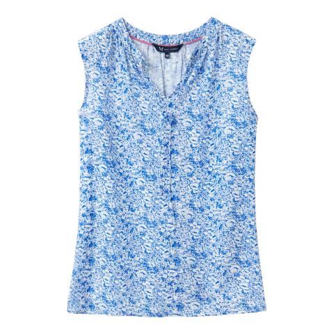Crew Clothing Blue Floral Cotton Blouse