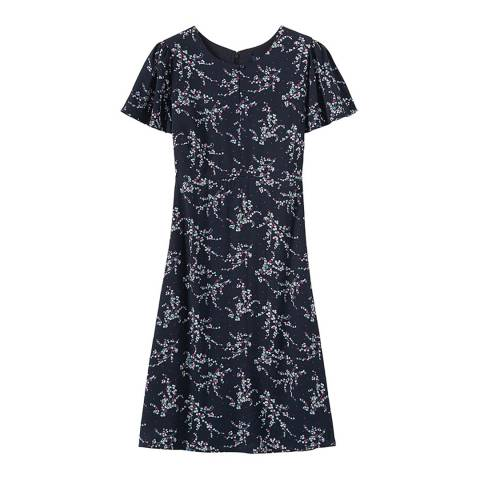 Crew Clothing Navy Floral Knee Length Dress