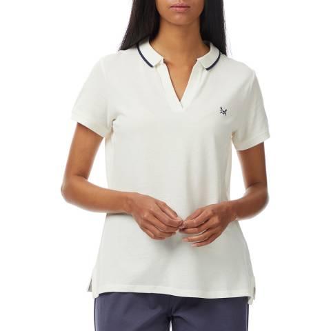 Crew Clothing White Notch Neck Cotton Polo Shirt