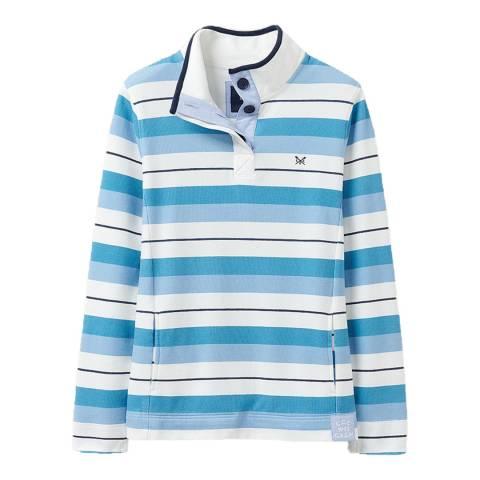 Crew Clothing Blue Stripe Cotton Button Sweatshirt