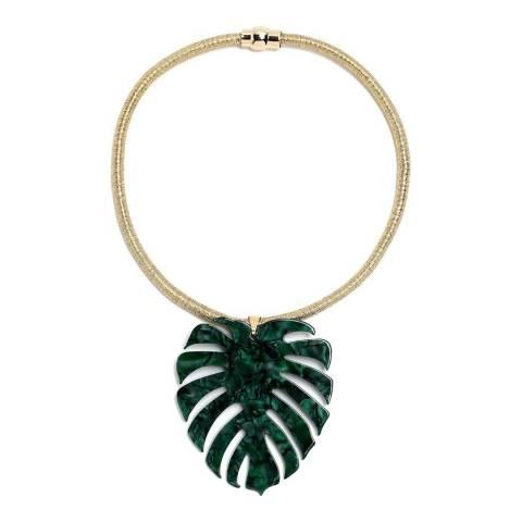 Amrita Singh Green Palm Leaf Collar Necklace