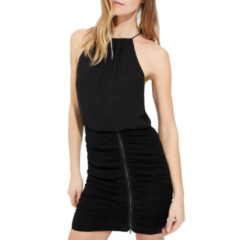 Halston Heritage Black Sleeveless Zipper Detail Dress