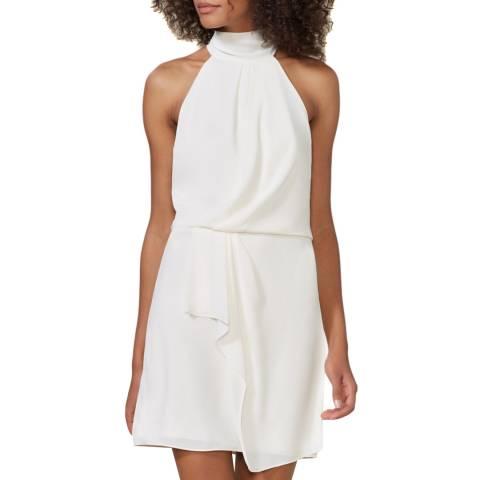 Halston Heritage Chalk High Neck Drape Dress