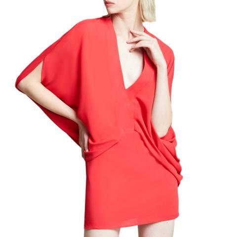 Halston Heritage Red V Neck Kimono Dress