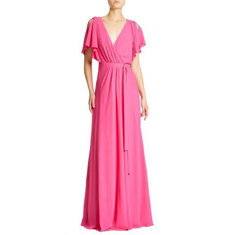 Halston Heritage Pink Wrap Maxi Length Dress