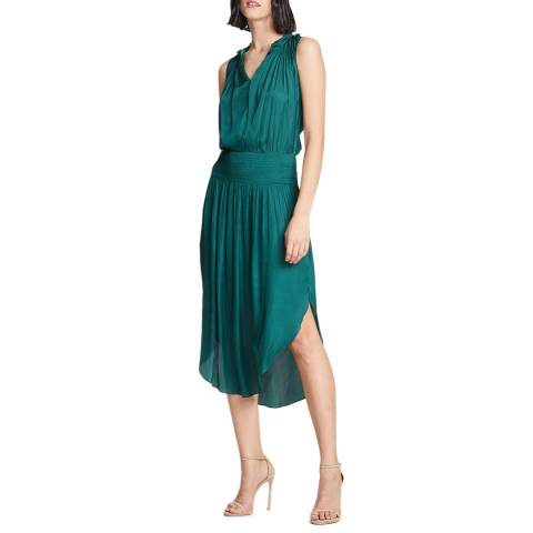 Halston Heritage Teal Smocked Waist Dress