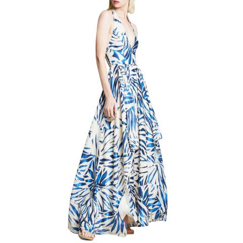 Halston Heritage Multi Print Split Hem Halter Neck Dress