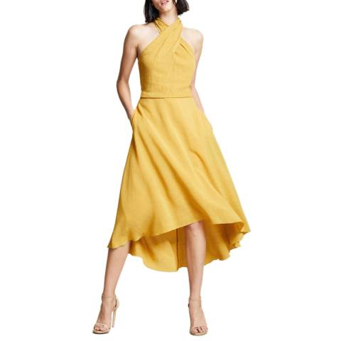 Halston Heritage Yellow Cross Neck Dress