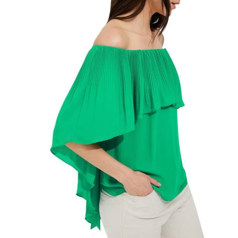 Halston Heritage Green Jade Off Shoulder Cape Top