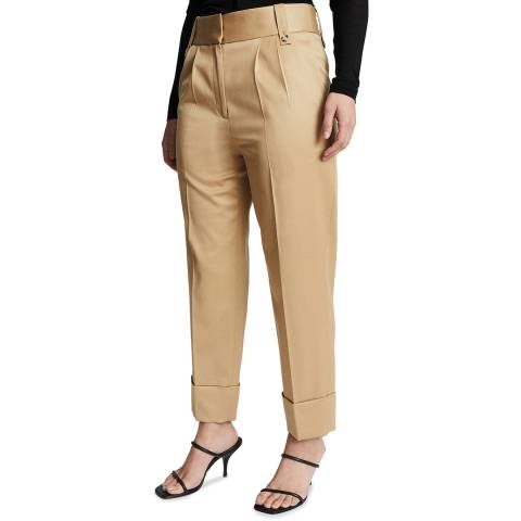 Reiss Gold Mae Wool Blend Turn Up Trousers