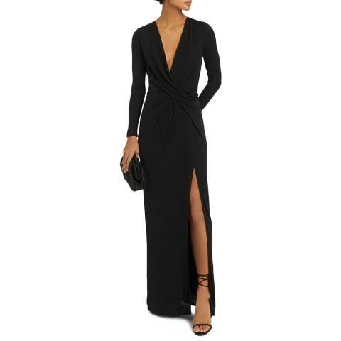 Reiss Black Lillian Plunge Jersey Maxi Dress