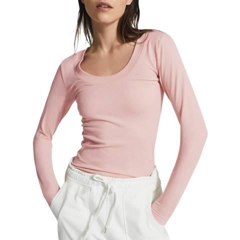 Reiss Pink Larkin Seamless Long Sleeve Top