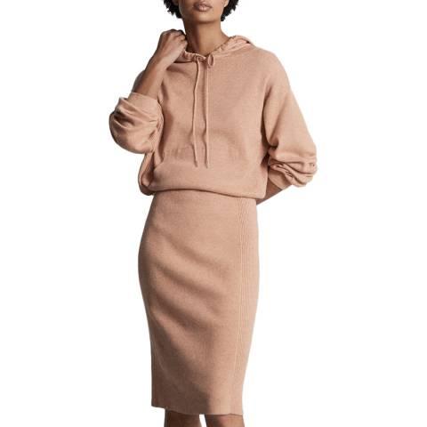 Reiss Beige Jodie Knitted Hoody Dress