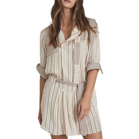 Reiss Cream Alba Cream Stripe Shirt Dress