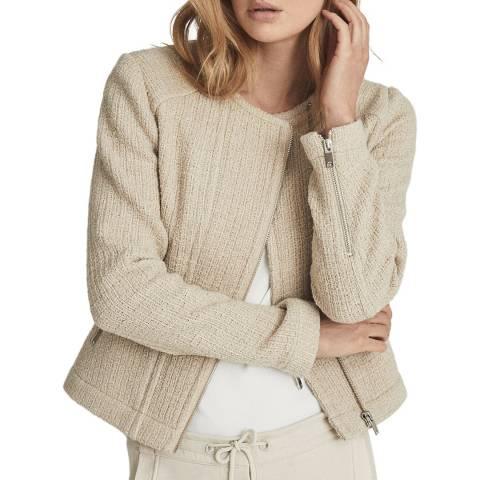 Reiss Beige Essie Boucle Wool Blend Jacket