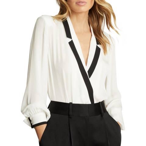 Reiss Cream Jayde Tux Blouse Bodysuit