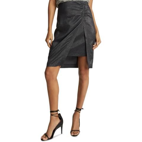 Reiss Black Eliza Metallic Pencil Skirt
