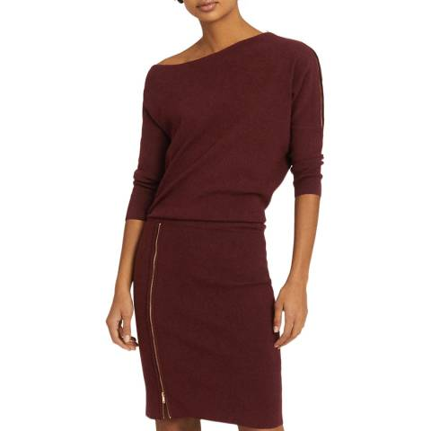 Reiss Red Cecilia Off The Shoulder Dress