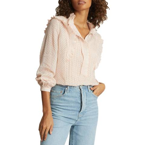 Reiss Pink Taylor Ruffle Detailed Blouse