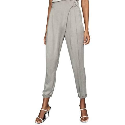 Reiss Grey Rosalie Wrap Front Trousers