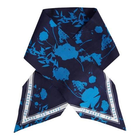 Ted Baker Dark Blue Porrtia Bluebell Skinny Tie Scarf