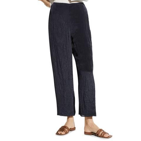 Vince Navy Textured Wide Leg Trouser