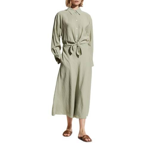 Vince Light Khaki Tie Front Shirt Dress
