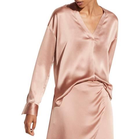 Vince Pale Pink V Neck Silk Blouse