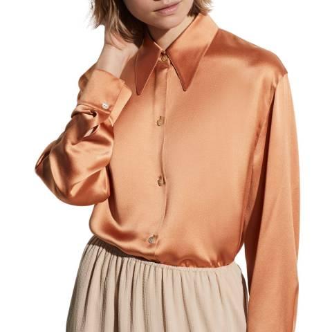 Vince Burnt Orange Collar Silk Blouse