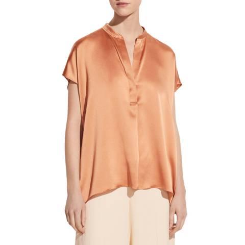 Vince Burnt Orange Silk Blouse