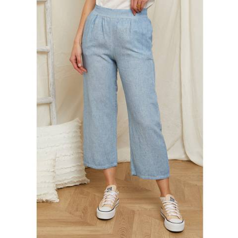 Rodier Blue 3/4 Length Linen Trouser