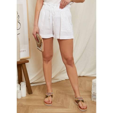 Rodier White Draw String Linen Short