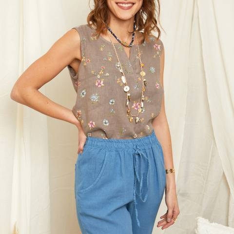 Rodier Taupe Floral Linen Top