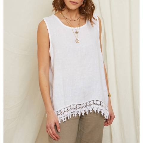 Rodier White Embroidered Hem Linen Top