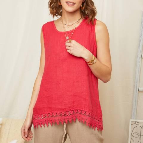 Rodier Fushia Embroidered Hem Linen Top