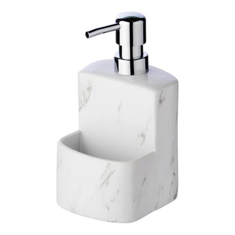 Wenko WENKO Dish Liquid Dispenser Festival Marble, Soap dispenser, with easy-to-grip soft-touch surface