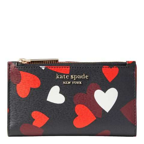 Kate Spade Black Multi Celebration Hearts Slim Bifold Wallet