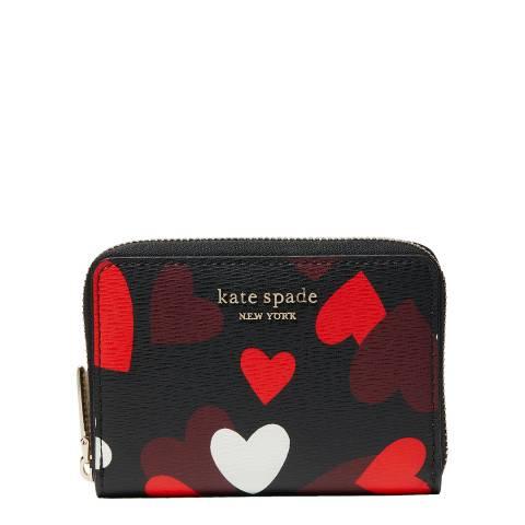 Kate Spade Black Celebration Hearts Zip Card Case
