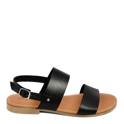 Via Fratina Black Leather Double Strap Sandal